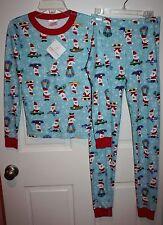 NWT Girls Hanna Andersson Santa Organic Cotton 2-Piece Pajama Size 150 / 11-13
