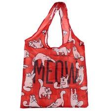 Simon's Cat Foldable Bag MEOW Reusable Shopping Tote In Pouch Red