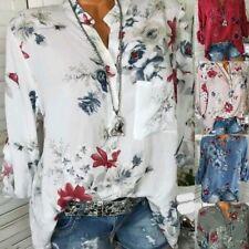 Damen Chiffon bedruckt Hemd V-Ausschnitt langärmelig Blumenmuster