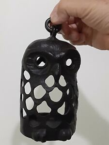 OWL LANTERN CANDLE HOLDER Black Metal outdoor patio