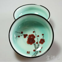Japanese Style Hand Painted Red Plum Ceramics Tea Cup