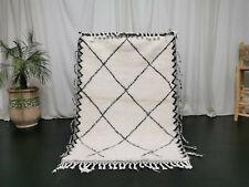 Handmade Moroccan Beni Ourain Rug 3'6x5'3 Berber Wool Geometric White Black Rug