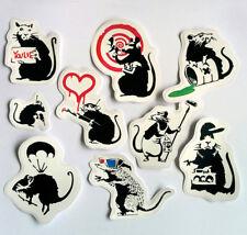 9x Banksy Rat Vinyl Stickers Set Decal Transfer Pack Car Bike Street Art Skate