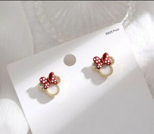 NEW Adorable Minnie Mouse Stud Earrings w/ Sparkling Rhinestones