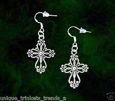 Earrings~St Patricks Day Gift~Sterling Hook Celtic Irish Cross Silver Dangle