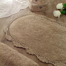 Tappeto bagno Ovale Shabby chic Bordo Crochet Colore Marrone 67 x 115