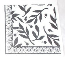 Collage art stamp leaves lace rubber stamp border corner square shape unmounted