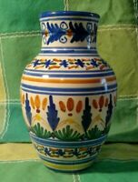 VINTAGE SIGNED Sanguino Toledo Spain VASE POTTERY SPANISH WARE 6 1/2 IN