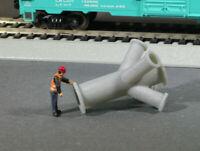 HO Scale Massive Welded 4-Way Pipe Junction Model Railroad Flatcar Load