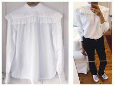Helmut Lang White Ruffled Cotton  Blouse Sz M