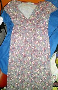 Tolles Boden Kleid grau mit Blumenmustern, Baumwolle Gr. 36