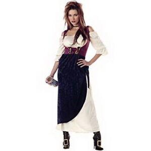 Medieval / Renaissance Wench Costume 2 Pc Burg./Navy/Cr Chemise & Overdress  S/M