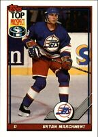 "1991-92 Topps ""TOP PROSPECT"" Jets Hockey Card #116 Bryan Marchment Rookie NM-M"