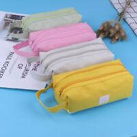 1Pc large double zipper pencil case pencil bag school offices stationery supply#