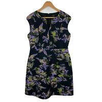 David Lawrence Womens Dress Size 14 Multicoloured Floral Zip Split Neck