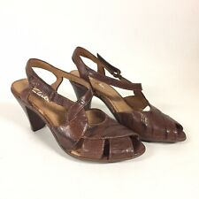 Clarks Brown Leather Peep Toe Sling Back Sandals Adjustable Womens 5