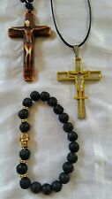 Cross pendants carved and stainless steel lava rock buddha bracelet FREE SHIPPIN