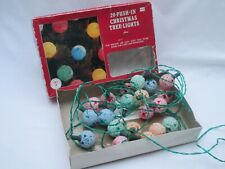 Vintage retro Woolworths coloured frosty globe Christmas tree fairy lights boxed