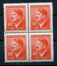 WWII German 4 Block 80 Bohmen and Mahren MNH Hitler Head ORANGE NAZI Authentic