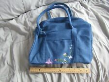 Denim Barrel Bag/ Purse with Flower and Butterfly Embroidery
