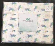 NEW LIL ENVOGUE KIDS 3 Piece UNICORN Rainbow TWIN Sheet Set Purple Blue Star