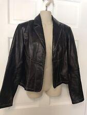 INC Leather Coat Jacket Cropped Short Black / White Stitching Lightweight - Sz M