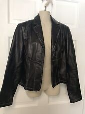 INC Leather Coat Jacket Blazer Black w/ White Stitching Lightweight - Sz M