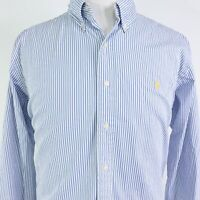 POLO RALPH LAUREN CUSTOM FIT L/S BLUE WHITE STRIPED BUTTON DOWN SHIRT MENS 2XL