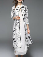 New Stylewe Black-white Leaf Stand Collar 2 piece Chiffon Midi Dress S-XXL