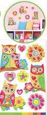 OWL FAMILY on branches 3D POP-UPS wall stickers 9 colorful decals room decor