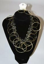 """ISIS 18"""" Black and Goldtone Hoop Necklace Earring Set Fashion Jewelry New jxaa"""