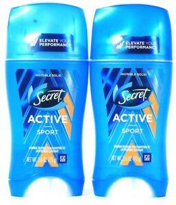 2 Count Secret 2.6 Oz Active Sport Invisible Solid Antiperspirant Deodorant