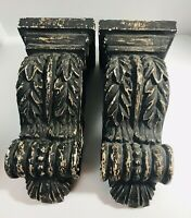 Set of 2 LARGE ORNATE CARVED DISPLY WALL SHELF SCONCE FARM HOUSE SHABBY CHIC