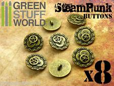 8x Botones RUEDAS & TORNILLOS SteamPunk 20mm - color Oro Viejo - Abalorios