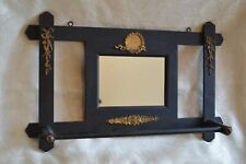 Antique Vtg Victorian style black wood Towel Rack & Mirror decorated pictorial
