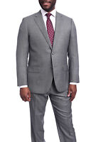 Napoli Classic Fit Gray Birdseye Two Button Half Canvassed Wool Silk Blend Suit