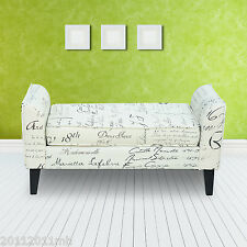 Rolled Arm Bench Seat Lounge Loveseat Living Room Hall Bedroom Cushions Cream