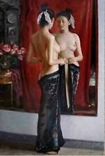 """Hand-painted oil painting:""""nude/nudes oriental Chinese girl at canvas"""" 24x36 Inc"""