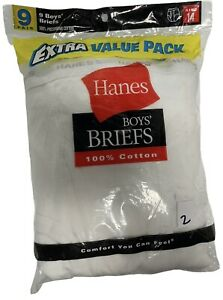 Rare VINTAGE- 2004 Hanes Boys Pack of 9 White Briefs (Size 14) NEW OLD STOCK /2/