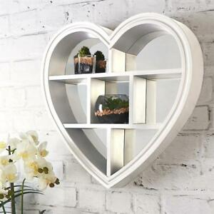 WHITE HEART MIRROR SHELF  WALL MOUNTED SHELF STORAGE BATHROOM LIVINGROOM BEDROOM