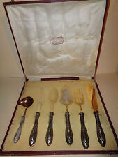 "ANTIQUE CONTINENTAL iTALIAN 800 SILVER LARGE KNIFE 11""   6 PC SERVING SET W/CASE"