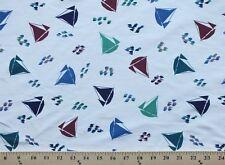 Scrubs Sailboats Boats Raindrops Fabric Print by the yard D129.10