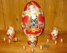 Russian nesting 13 Korobeiniki PYROGRAPHY RED GOLD EGG dolls matryoshka MAMAYEVA