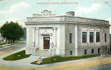 c.1910 Postcard; Stevenson Library, Marinette, WI Marinette County, Unposted