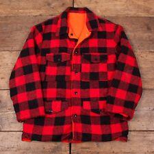 "Mens Vintage Red Black Reversible Plaid Lumberjack CPO Shirt Size M 38"" R3211"