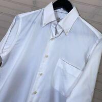 Peter Millar Crown Soft Cotton Silk Blend L/S Button Shirt White Men's Size S