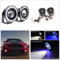 2 X 12V Blue LED COB Halo Angel Eye Rings Car Fog Lights Projector Working Lamps