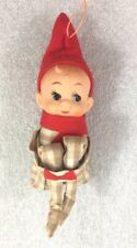 """Knee Hugging Pixie Elf Christmas Ornament w/tan white plaid outfit 5"""""""