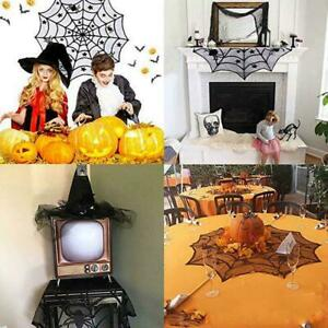 Halloween Spider Web Lace Creepy Table Cloth Cover Decor Dress Halloween V4Q9
