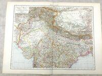 1895 Map of India Nepal Tibet Kashmir Bengal Old Antique 19th Century Large
